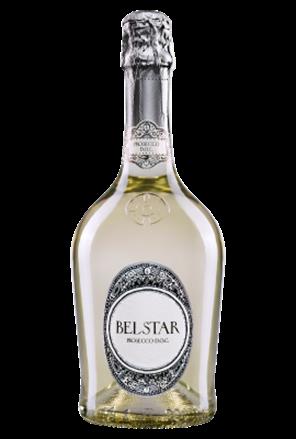 Rượu Bisol Bel Star Prosecco Brut có màu vàng rơm, ánh xanh đẹp mắt, bọt rượu mịn