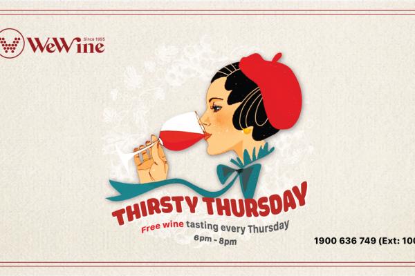 Thử nếm vang miễn phí Thirsty Thursday