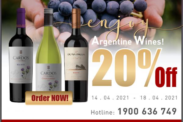 Giảm 20% rượu vang Argentina